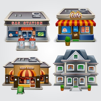 Illustration of store gas station cafe fast food and house