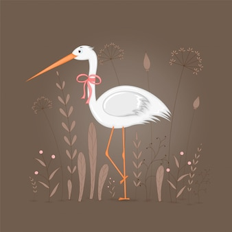 Illustration of stork with branches and plants