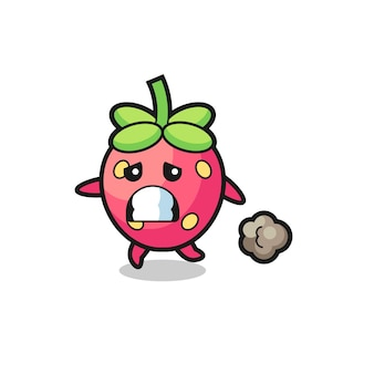 Illustration of the strawberry running in fear , cute style design for t shirt, sticker, logo element