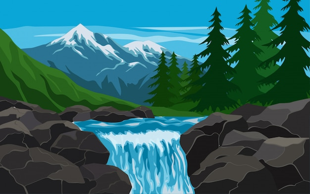 Illustration of stream with mountain