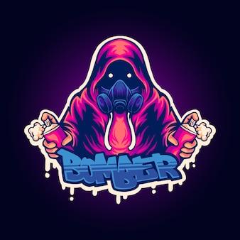 Illustration of street bomber mascot logo