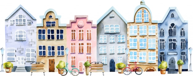 Illustration of street of watercolor scandinavian houses