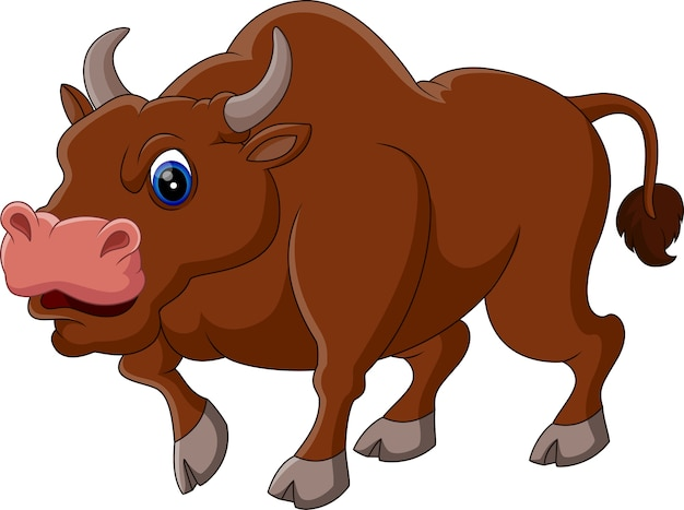 Illustration of strong bull cartoon