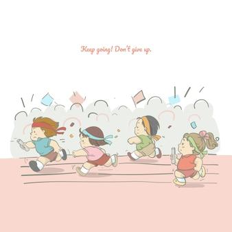 Illustration of student running athletics, character design