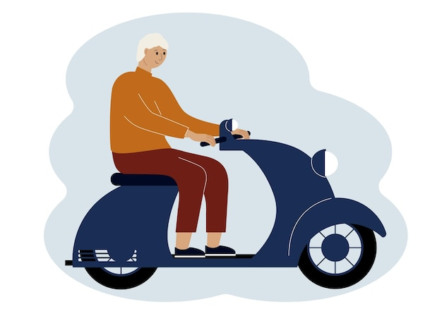 Illustration of a stylish man riding a scooter
