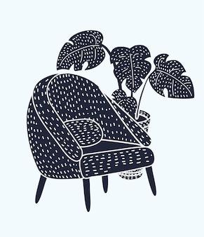 Illustration of stylish vintage armchair