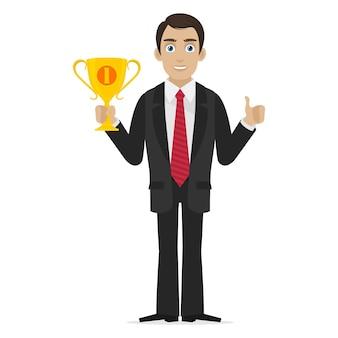 그림 성공적인 사업가 보유 컵, 형식 eps 10
