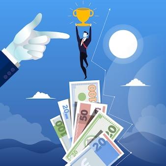 Illustration of successful businessman standing on money