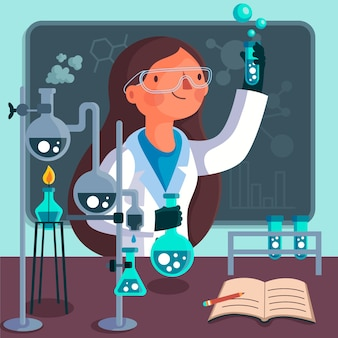 Illustration of a successful female character scientist