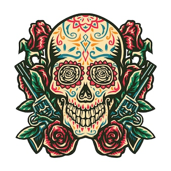 Illustration of sugar skull with a gun and a rose