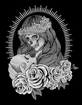 Иллюстрация сахарного черепа женщины с гравировкой
