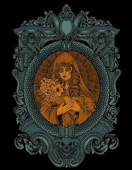 Иллюстрация черепа сахарной женщины с рамкой орнамента гравировки