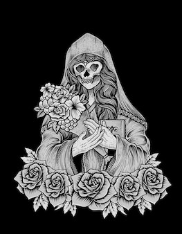 Иллюстрация черепа сахарной женщины с гравировкой