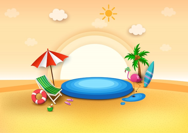 Illustration  of summer background  with pool party and the beach