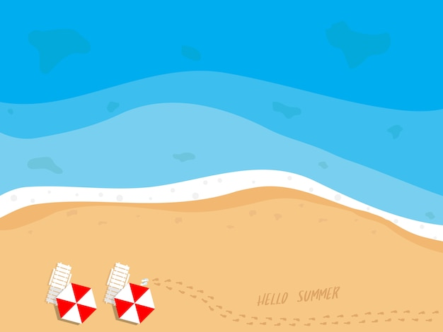 Illustration of summer beach top view with beach chairs