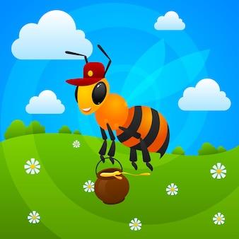 Иллюстрация, летняя пчела держит банку с медом, формат eps 10
