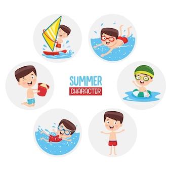 Illustration of summer children