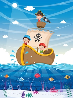 Illustration of summer kids