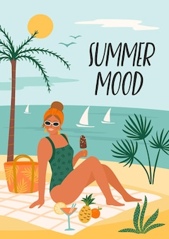 Illustration of summer mood with woman in swimsuit on tropical beach.