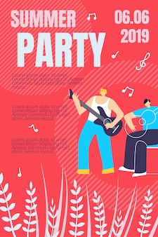 Illustration summer party poster template