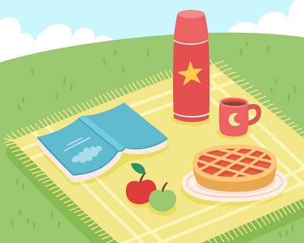 Illustration of summer picnic in park