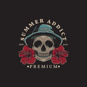Illustration of summer skull wearing hat and hibiscus flowers with hand drawn style