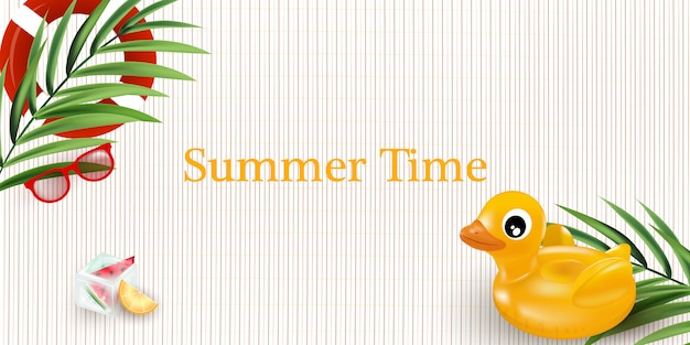 Illustration of summer time poster. summer holidays illustration.