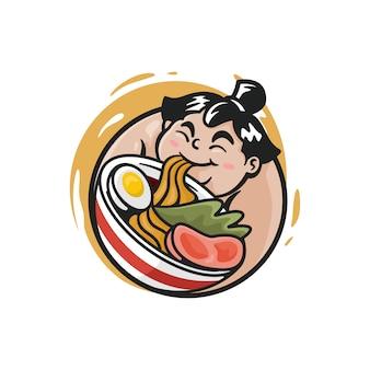 Illustration of sumo eating noodles