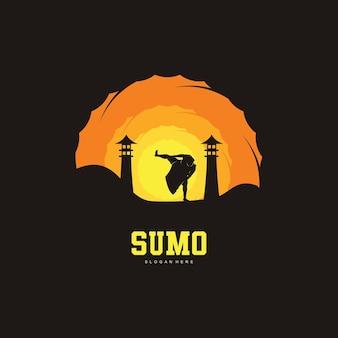 Illustration of sumo fight logo design, sumo fight silhouette
