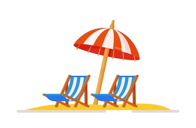 Illustration of sunbeds on the sand under an umbrella