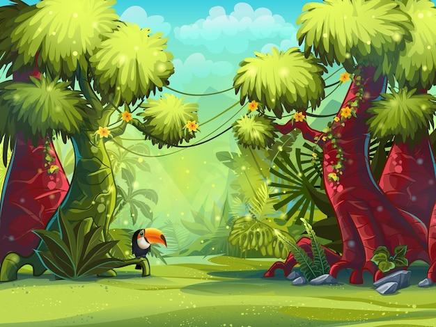 Иллюстрация солнечное утро в джунглях с птицей туканом