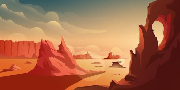 砂漠の山を背景に夕日のイラスト