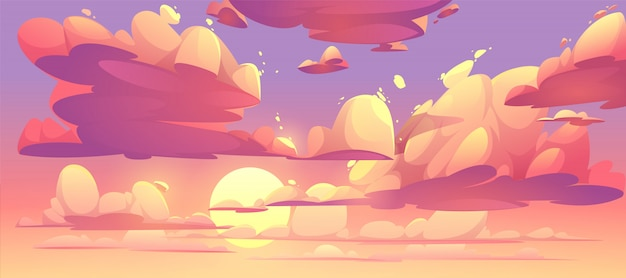 Illustrazione del cielo al tramonto con nuvole