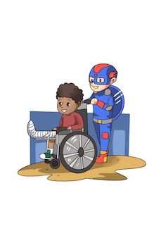Illustration of super hero kid helping young boy on wheelchair