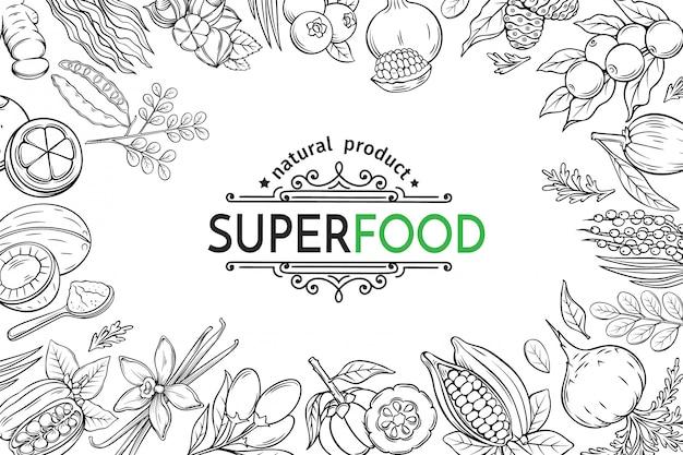Иллюстрация суперпродуктов ягоды и фрукты плакат шаблон. рожковое дерево, имбирь, моринга, лукума, ягоды коджи, мангостин, гуарана и нони. здоровая детоксикация каму-каму, гарцинии камбоджийской и мака.