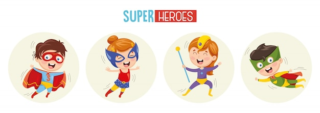 Illustration of superheroes