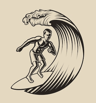 Illustration of a surfer on a white background.