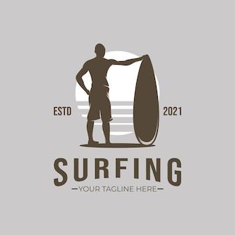 Illustration of surfing logo design inspiration