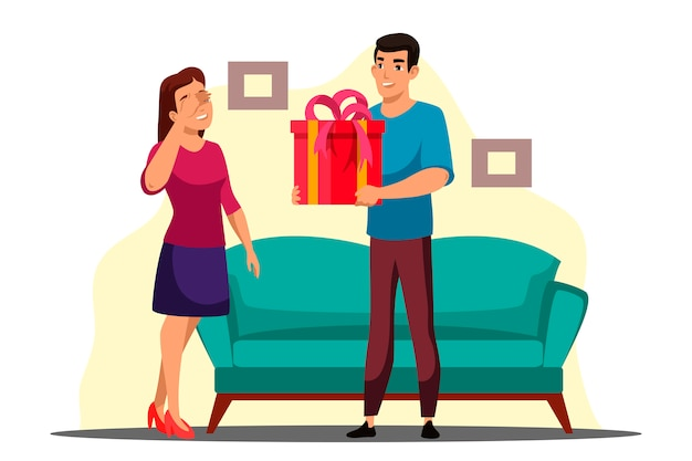 Illustration of surprise gives gift scene with guy and girl