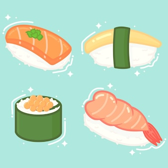 Illustration of sushi collection