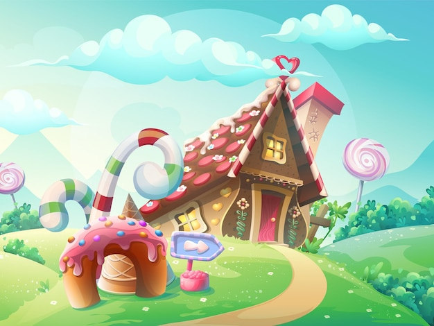 Illustration of sweet house of cookies and candy on a background of meadows and growing caramels