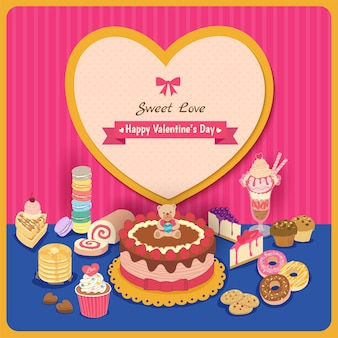 Illustration of sweet love dessert for valentine's day