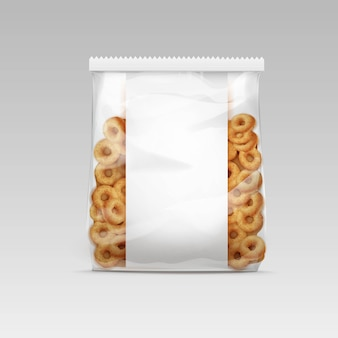 Illustration of sweet orn rings in package template