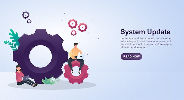 Illustration  of system update with big gear.