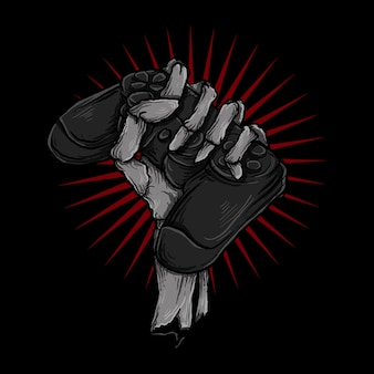 Illustration and t-shirt design skeleton hand with controller game
