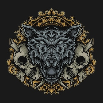 Illustration and t-shirt design wolf and skull engraving ornament