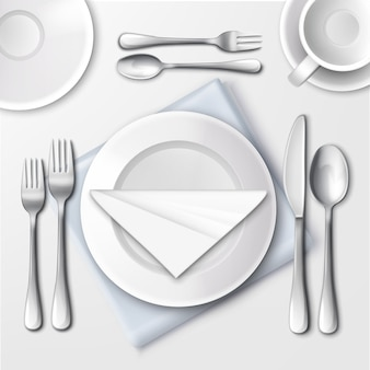 Illustration of table setting in restaurant with white plates and silverware