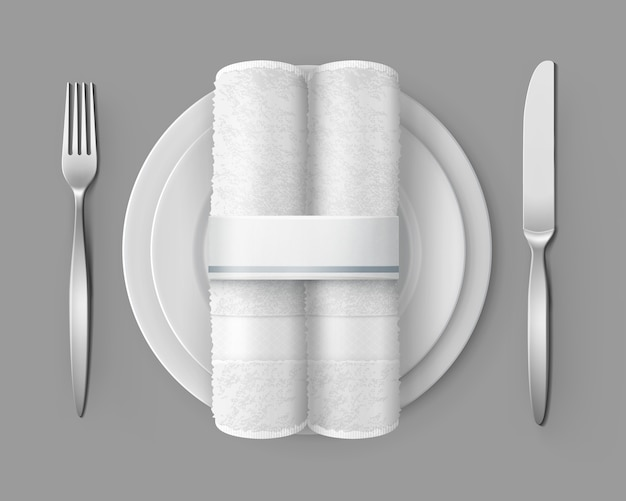 Illustration of table setting top view of two white cloth napkins