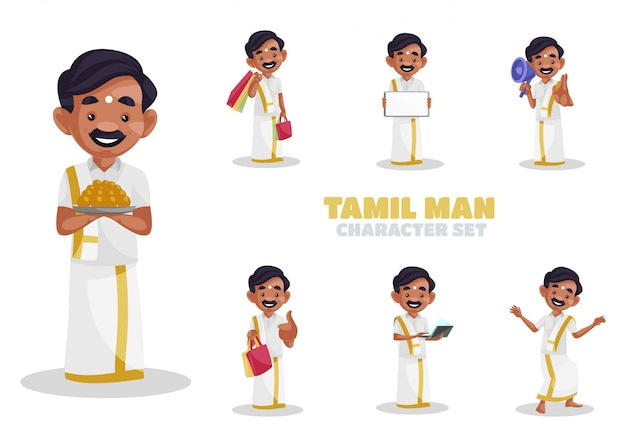 Illustration of tamil man character set