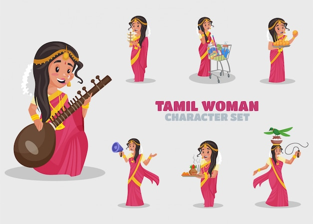 Illustration of tamil woman character set